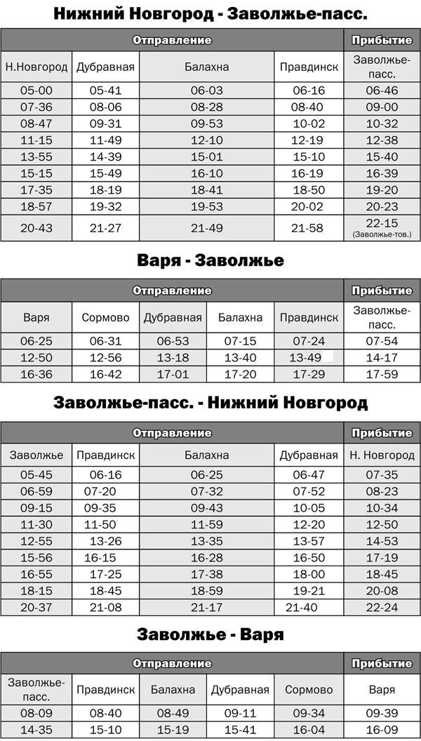 Расписание электропоездов